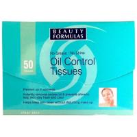 Beauty Formulas Oil Control Tissues 100x70mm Μαντηλάκια ρύθμισης Λιπαρότητας